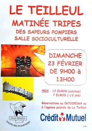 MATINÉE TRIPES des sapeurs-pompiers @ Salle Socioculturelle