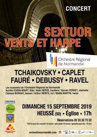 Concert SEXTUORS VENTS ET HARPE @ Église de Heussé